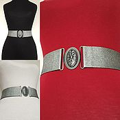 Аксессуары handmade. Livemaster - original item Belt-gum Matte Silver and Sarobi, 2000 rubles for the belt height 50mm. Handmade.