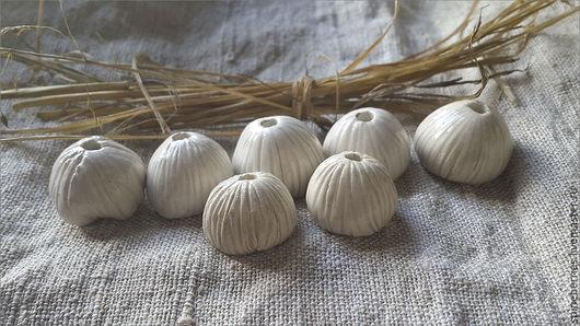 """Для украшений ручной работы. Ярмарка Мастеров - ручная работа. Купить Керамические бусины """"Цветы-грибочки"""". Handmade. Белый, цветы"""