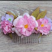 """Цветы и флористика ручной работы. Ярмарка Мастеров - ручная работа Гребень с  розами """"Зефирное облако"""". Handmade."""