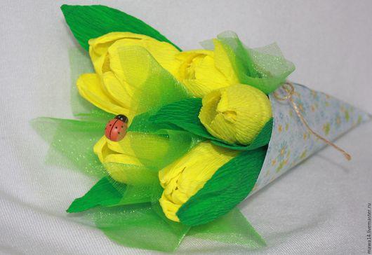 Букеты ручной работы. Ярмарка Мастеров - ручная работа. Купить Тюльпаны. Handmade. Подарок на 8 марта, букет из конфет