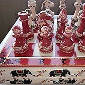 """Шахматы ручной работы. Ярмарка Мастеров - ручная работа Шахматы большие, подарочные, ручная роспись """"Индийский слон"""". Handmade."""
