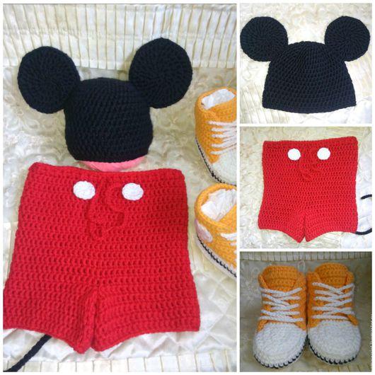Для новорожденных, ручной работы. Ярмарка Мастеров - ручная работа. Купить Комплект Микки Маус для фотосессии новорожденных. Handmade.