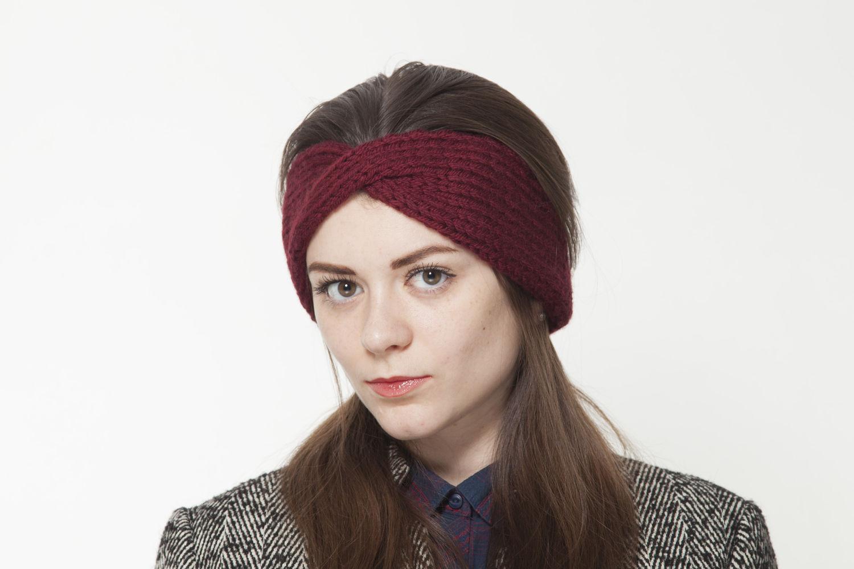бордовая вязаная повязка на голову утепленная флисом купить в