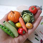 Кукольная еда ручной работы. Ярмарка Мастеров - ручная работа Овощи из полимерной глины (игровой набор 30 фигурок, 17 видов овощей). Handmade.