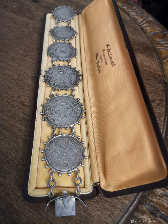 Antique silver bracelet made of rare coins, Vintage bracelets, Moscow,  Фото №1