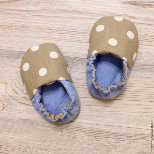 Обувь ручной работы. Ярмарка Мастеров - ручная работа. Купить Текстильные пинетки из натурального хлопка Горошек. Handmade. Серый
