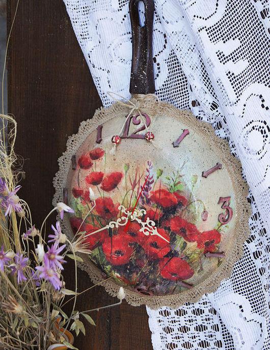 Часы для дома ручной работы. Ярмарка Мастеров - ручная работа. Купить Часы настенные Летний полдень. Handmade. Сковородка
