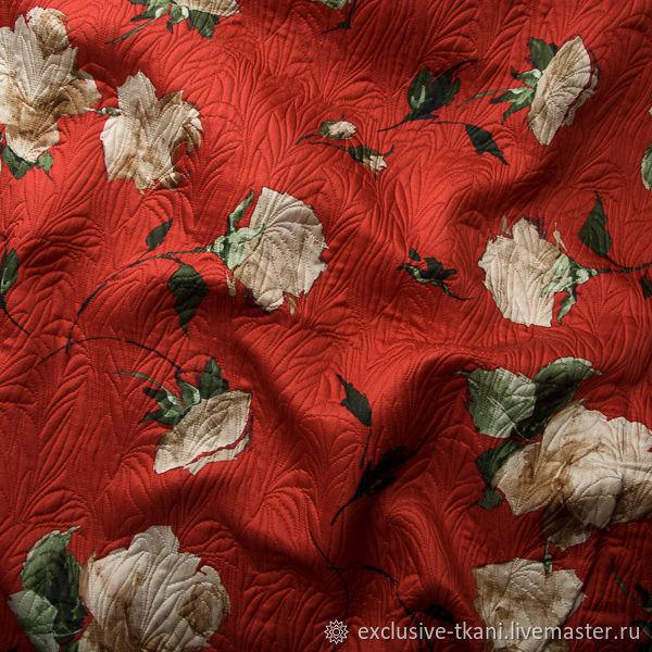 Шелковый жаккард D&G цвет красный Роза Италия, Ткани, Москва,  Фото №1