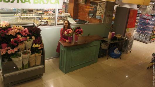 Цветы ручной работы. Ярмарка Мастеров - ручная работа. Купить Цветочный магазин (оформление). Handmade. Зеленый, массив дерева