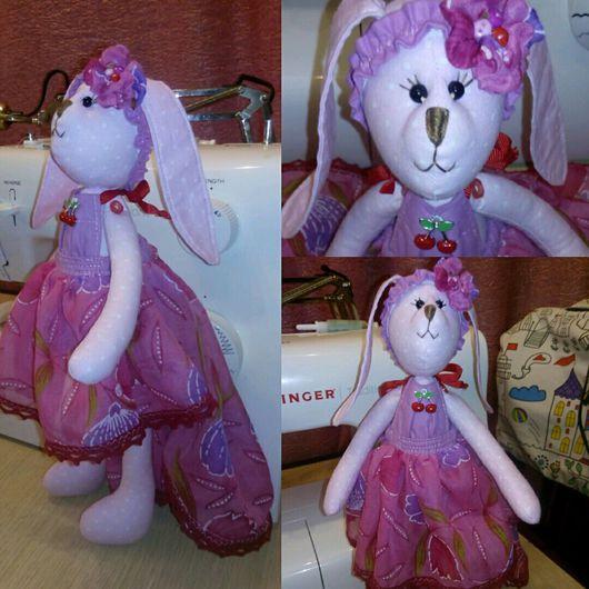 Игрушки животные, ручной работы. Ярмарка Мастеров - ручная работа. Купить Зайка в розовом платье. Handmade. Зайка, игрушка, холлофайбер