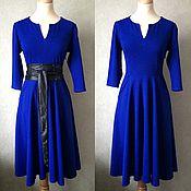 Одежда ручной работы. Ярмарка Мастеров - ручная работа Синее платье с карманами. Handmade.