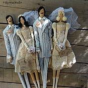 Куклы и игрушки ручной работы. Ярмарка Мастеров - ручная работа куклы тильда ручной работы ВИНТАЖНАЯ СВАДЬБА повтор. Handmade.