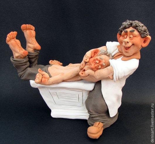 Статуэтки ручной работы. Ярмарка Мастеров - ручная работа. Купить Физиотерапия. Handmade. Комбинированный, украшение для интерьера, глина