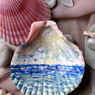 """Картины и панно ручной работы. Ярмарка Мастеров - ручная работа Роспись на ракушке """" Море , чайки """". Handmade."""