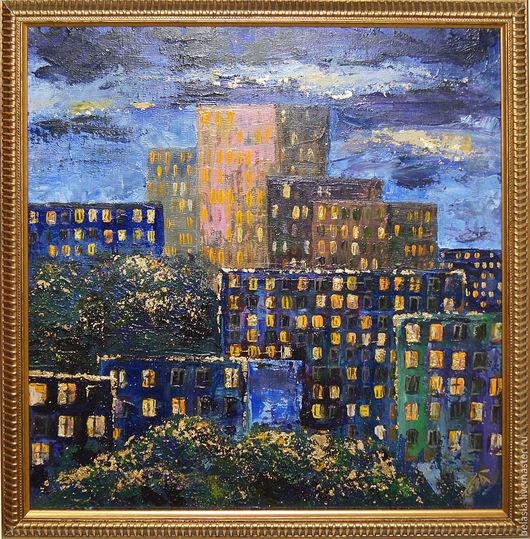 Город ручной работы. Ярмарка Мастеров - ручная работа. Купить диптих Ночной город, картина акрилом. Handmade. Тёмно-синий