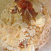 Свадебный салон ручной работы. Ярмарка Мастеров - ручная работа Букет из брошей золотисто розовый. Handmade.