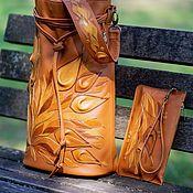 Сумки и аксессуары handmade. Livemaster - original item Bag-bag elegant red with flowers and cosmetic bag included. Handmade.