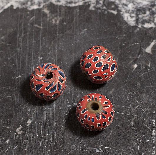Для украшений ручной работы. Ярмарка Мастеров - ручная работа. Купить Красные мозаичные крупные стеклянные бусины диаметром 18 мм. Handmade.
