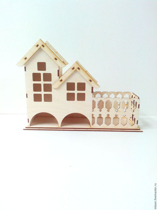 IVL-129-3-355 Чайный домик с забором и с конфетницей заготовка для декупажа и росписи
