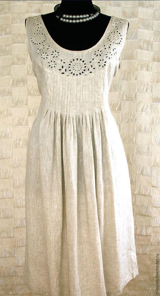Платья ручной работы. Ярмарка Мастеров - ручная работа. Купить Платье льняное с вышивкой, натурального цвета. Handmade. Белый