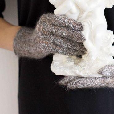 Accessories handmade. Livemaster - original item Gloves knitted feather (goat). Handmade.