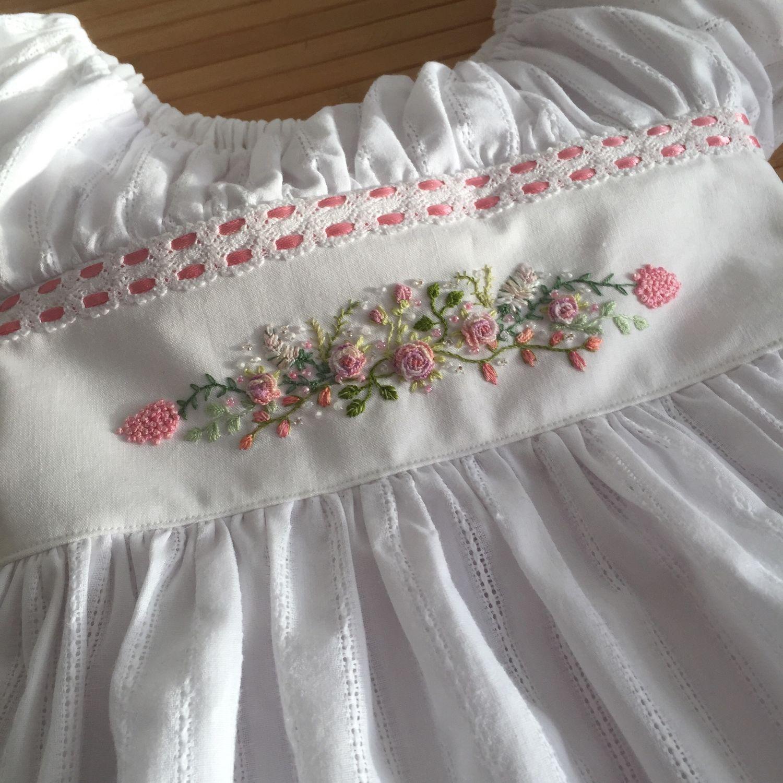 Платье с ручной вышивкой рококо, белое, хлопковое, выпускной, Платья, Санкт-Петербург,  Фото №1