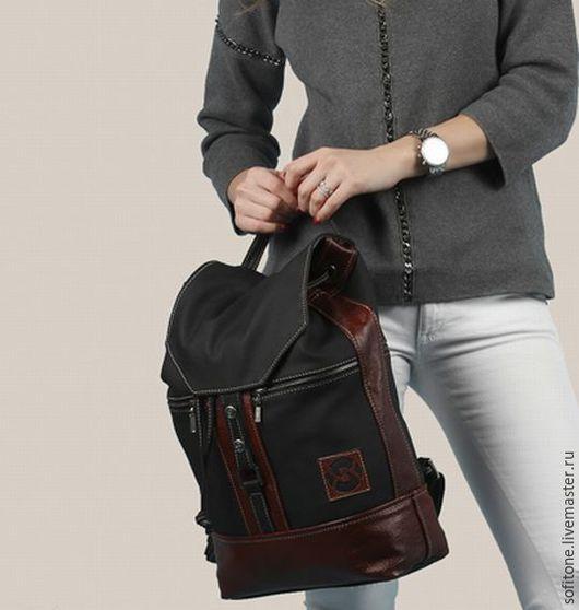 Рюкзаки ручной работы. Ярмарка Мастеров - ручная работа. Купить Кожаный рюкзак Черный с рыжим. Handmade. Спортивный рюкзак