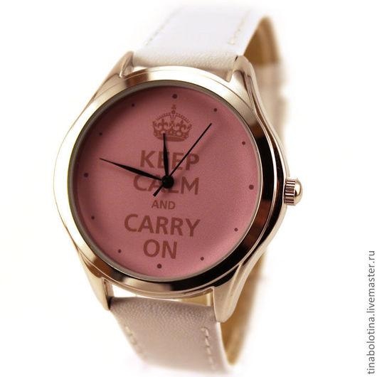 Часы ручной работы. Ярмарка Мастеров - ручная работа. Купить Дизайнерские наручные часы Keep Calm & Carry On. Handmade.