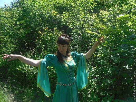 """Платья ручной работы. Ярмарка Мастеров - ручная работа. Купить Средневековое платье """"Царица леса"""". Handmade. Мятный, средневековое платье"""