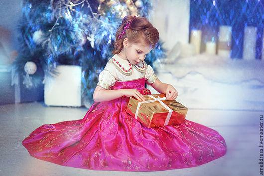 Одежда для девочек, ручной работы. Ярмарка Мастеров - ручная работа. Купить Розовое платье. Handmade. Фуксия, Праздник, шёлк