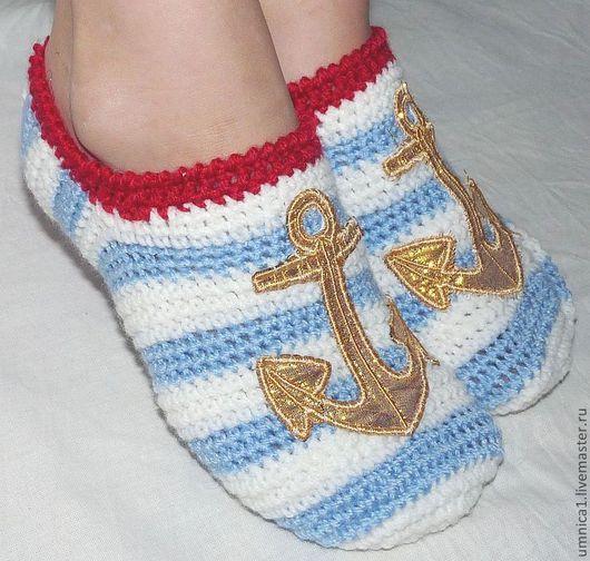 """Обувь ручной работы. Ярмарка Мастеров - ручная работа. Купить Тапочки вязаные балетки (следки) """"Море, якорь"""". Handmade. Голубой"""