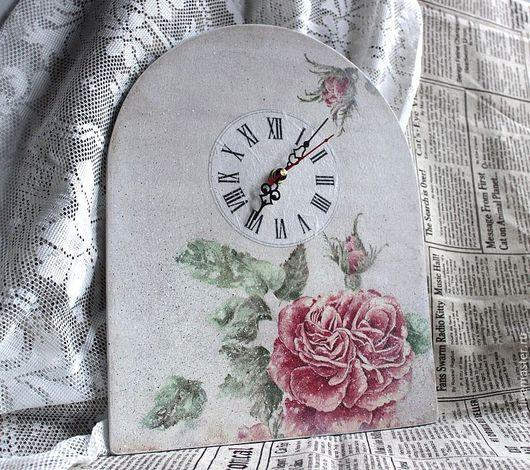 """Часы для дома ручной работы. Ярмарка Мастеров - ручная работа. Купить Часы """"Акварельная роза"""". Handmade. Белый, часы настольные"""