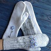 Аксессуары handmade. Livemaster - original item Mittens knitted forget-me-nots, transformers. Handmade.