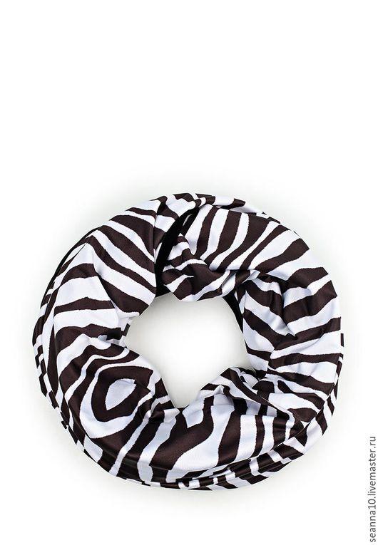 Шали, палантины ручной работы. Ярмарка Мастеров - ручная работа. Купить Шарф-снуд двусторонний зебра трикотаж/бархат. Handmade.