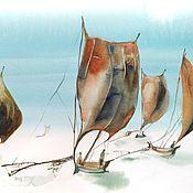 Картины и панно handmade. Livemaster - original item Watercolor Sri Lanka (blue brick sails). Handmade.