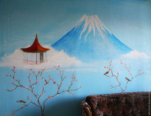 """Детская ручной работы. Ярмарка Мастеров - ручная работа. Купить Роспись стены в комнате подростка """"Мечты о Японии"""". Handmade. Голубой"""