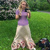 """Одежда handmade. Livemaster - original item Copy of Patchwork skirt A-line with band set """"Moscow Zebra"""". Handmade."""