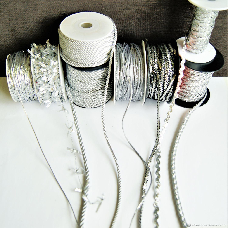 Серебристые шнуры и тесьма  для упаковки и декора, Шнуры, Москва,  Фото №1