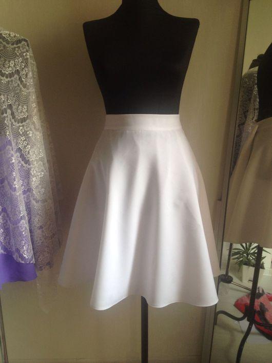 Юбки ручной работы. Ярмарка Мастеров - ручная работа. Купить Белая летняя юбка клеш на подкладке. Handmade. Белая юбка