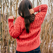 Джемперы ручной работы. Ярмарка Мастеров - ручная работа Мягкий свитер - Коралл. Handmade.