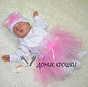 """Работы для детей, ручной работы. Ярмарка Мастеров - ручная работа Комплект для новорожденной """"Принцесса"""" с розовой юбочкой. Handmade."""