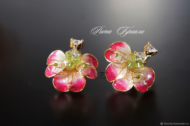 Delicate Azalea earrings, stained glass, Earrings, St. Petersburg,  Фото №1