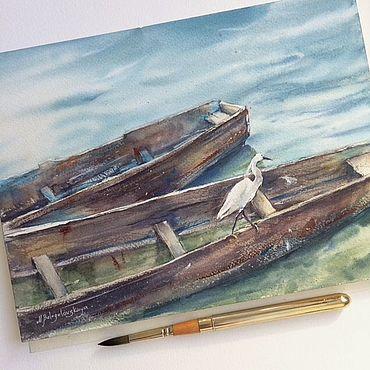 Картины и панно ручной работы. Ярмарка Мастеров - ручная работа Картина акварелью. Лодки (голубой, зеленый, бирюзовый). Handmade.