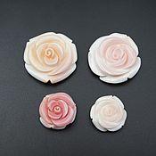 handmade. Livemaster - original item Mother of pearl carved white-pink rose. Handmade.