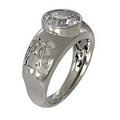 """Украшения ручной работы. Ярмарка Мастеров - ручная работа Титановый перстень """"Монограмма"""" с муассанитом, титан, мужское кольцо. Handmade."""