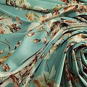 """Материалы для творчества ручной работы. Ярмарка Мастеров - ручная работа Искусственный шелк жемчужный """"Бирюзово-голубой с орхидеями"""".. Handmade."""