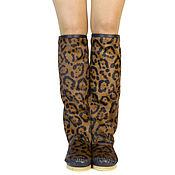 Обувь ручной работы handmade. Livemaster - original item Winter boots Brown leopard print pony color - LACCIO. Handmade.