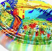 Посуда handmade. Livemaster - original item dish glass fusing solar cabin in the mountains. Handmade.