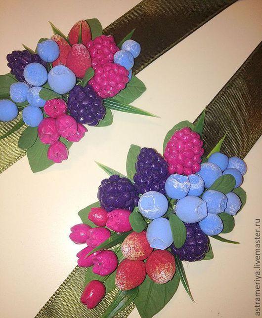Свадебные украшения ручной работы. Ярмарка Мастеров - ручная работа. Купить Свадебный браслет на ленте Лесные ягоды из полимерной глины. Handmade.