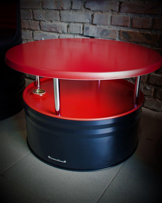 Журнальный стол из бочки в стиле лофт Black&Red, Столы, Ростов-на-Дону,  Фото №1
